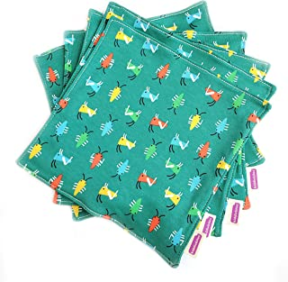 product image for Kiddiebites | 100% Organic Cotton Cloth Napkin Set | 5-Pack for Kids and Toddlers | 2-ply | Made in The USA | Reusable (Bug Print, Knit)