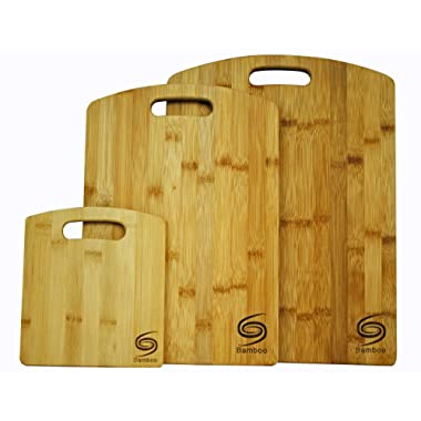 Organic Premium Bamboo Cutting Board- set of 3 Eco-Friendly truly durable Chopping Boards for all food needs Every Kitchen must have Grand Sierra Designs