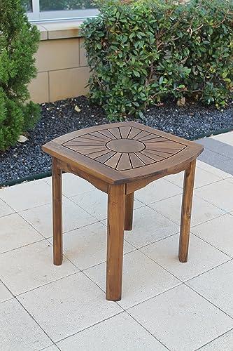 International Caravan VF-4135-IC Furniture Piece Sun Burst Square Round Side Table