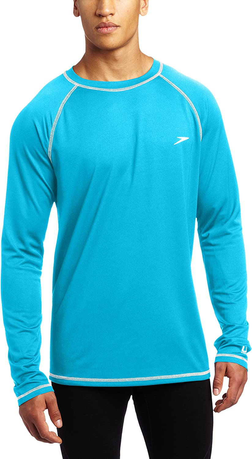 Speedo mens Uv Swim Shirt Long Sleeve Loose Fit Easy Tee - Manufacturer Discontinued