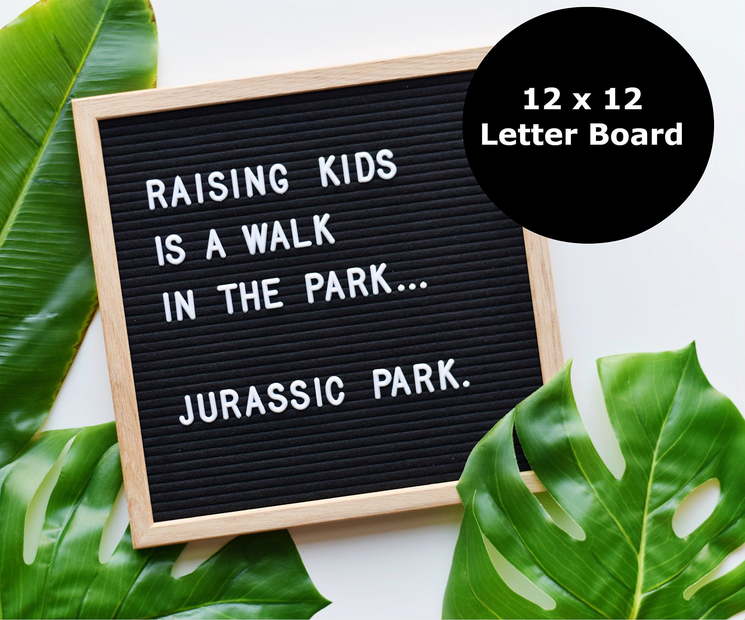 Felt Letter Board (12'' x 12'') | Black | Oak Frame - 300 Changeable White Letters/Numbers/Characters - Free Bag! - Text Box Brand
