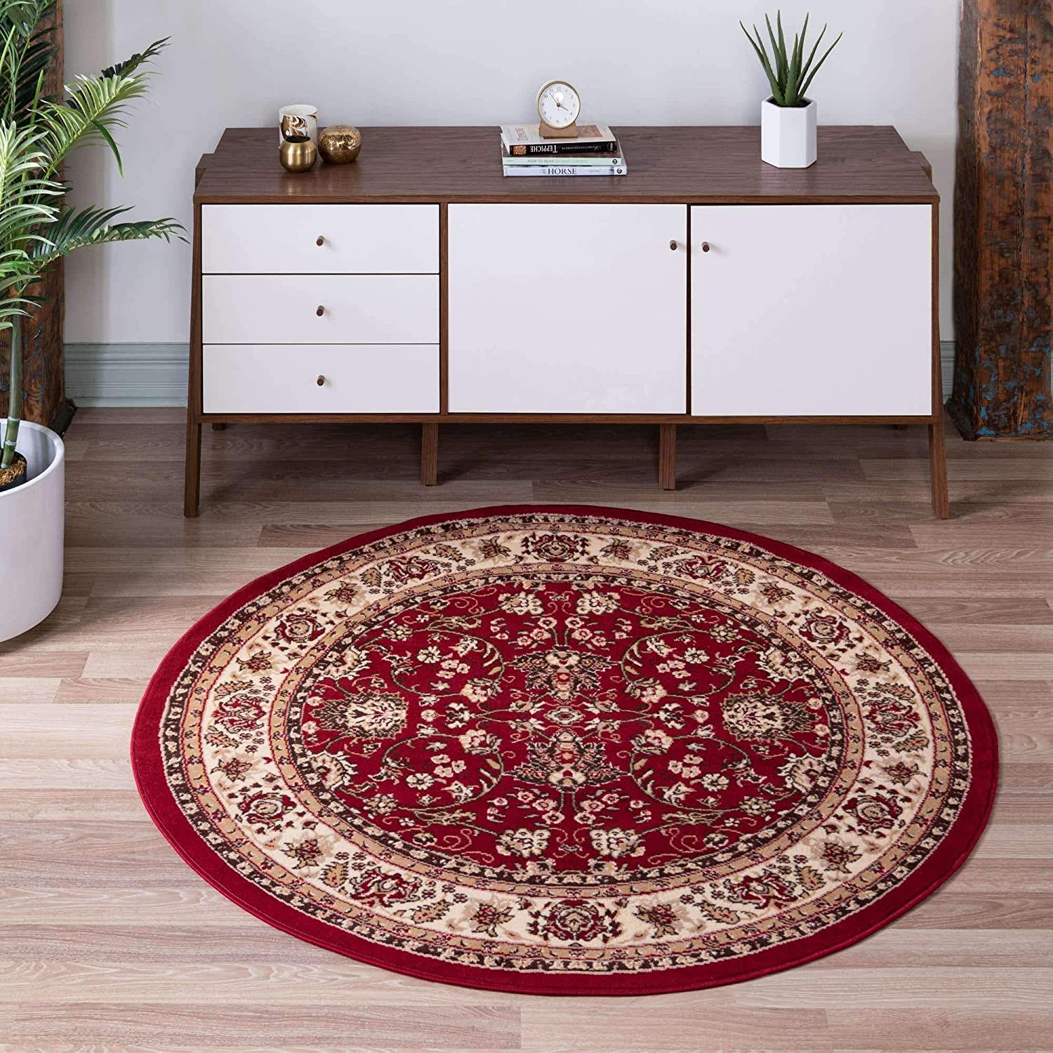 Unique Loom Kashan Traditional Floral Overall Pattern with Border Rug_KAS003, 5 Feet, Burgundy/Ivory