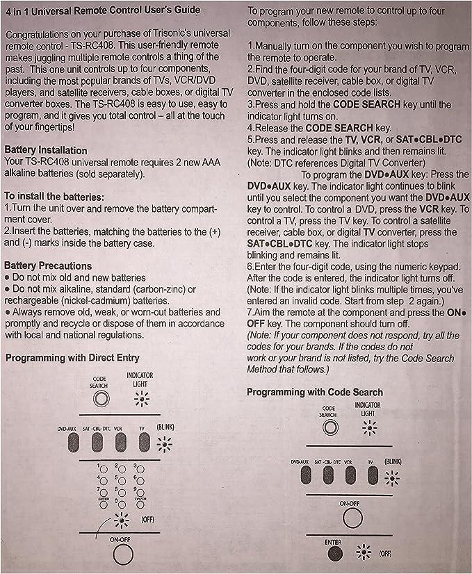 Trisonic 4 Way Todos en uno Mando a Distancia Universal programable, Mando a Distancia, Compatible con TV, Aux, Red Coverter Box, DVD, Cable, satélite y más: Amazon.es: Electrónica