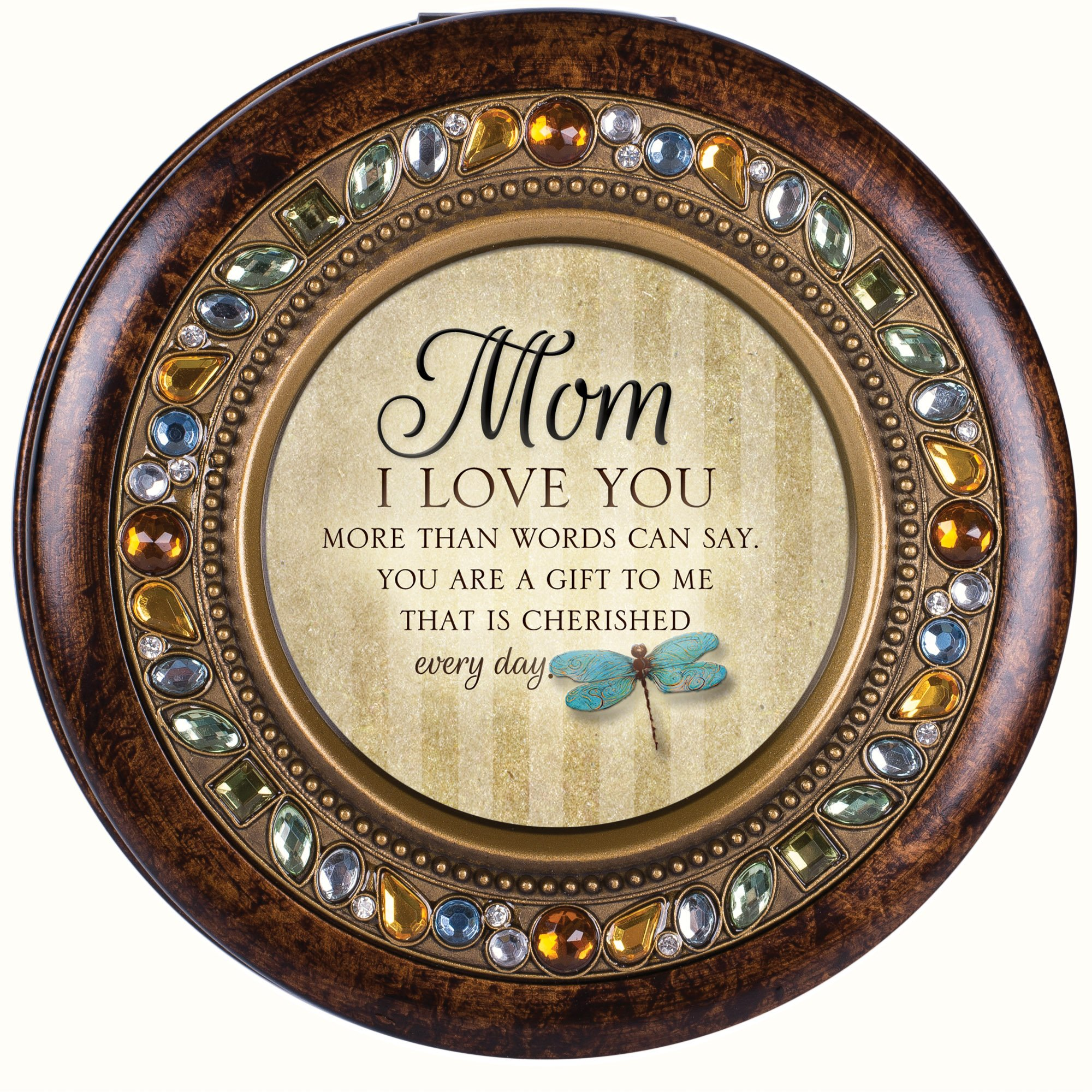 Cottage Garden Mom I Love You Every Day Jeweled Amber Earth Toned Round Music Box Plays Wind Beneath My Wings by Cottage Garden (Image #2)