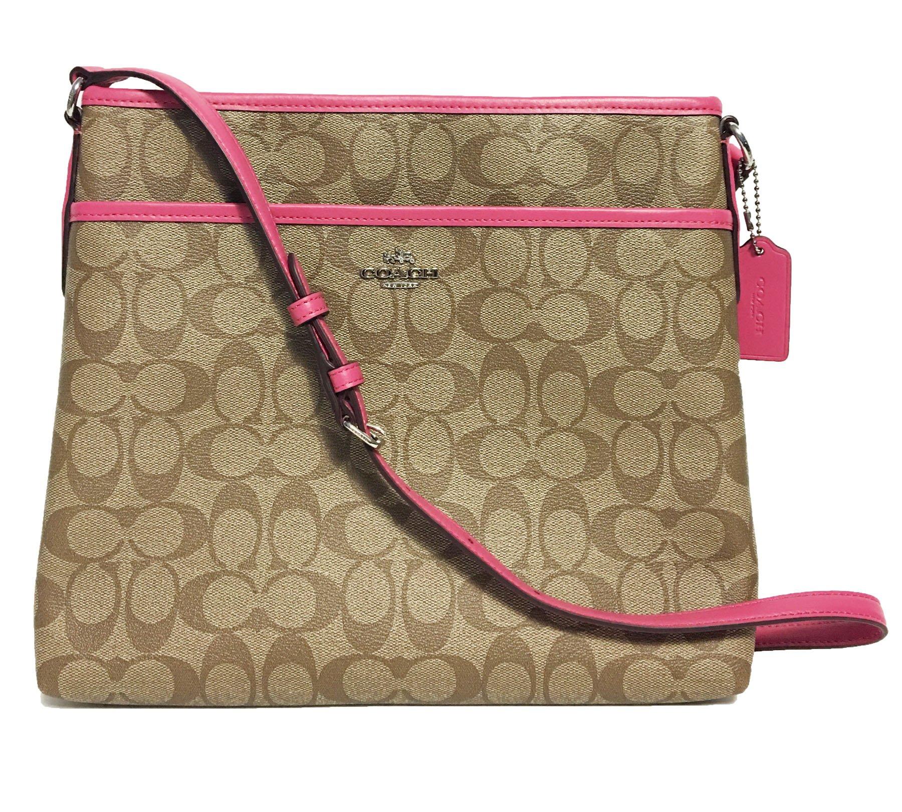 Coach Signature File Crossbody Bag (SV/Khaki/Magenta)