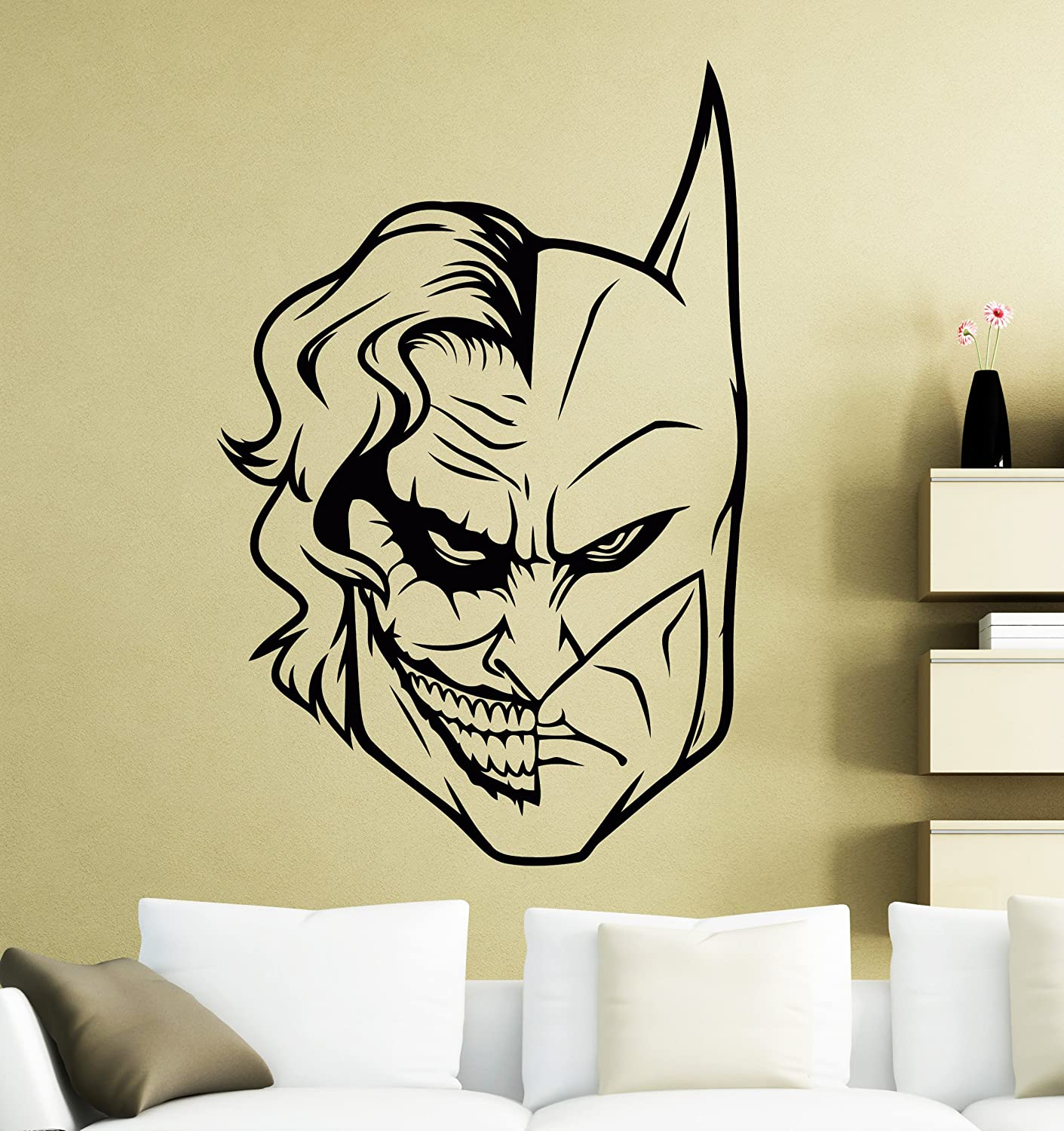 Batman and Joker Face Wall Decal Superhero Sticker Comics Art Home ...