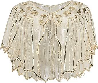 BABEYOND 1920s Shawl Wraps Sequin Fringed Evening Cape Wedding Bridal Shawl Scarf