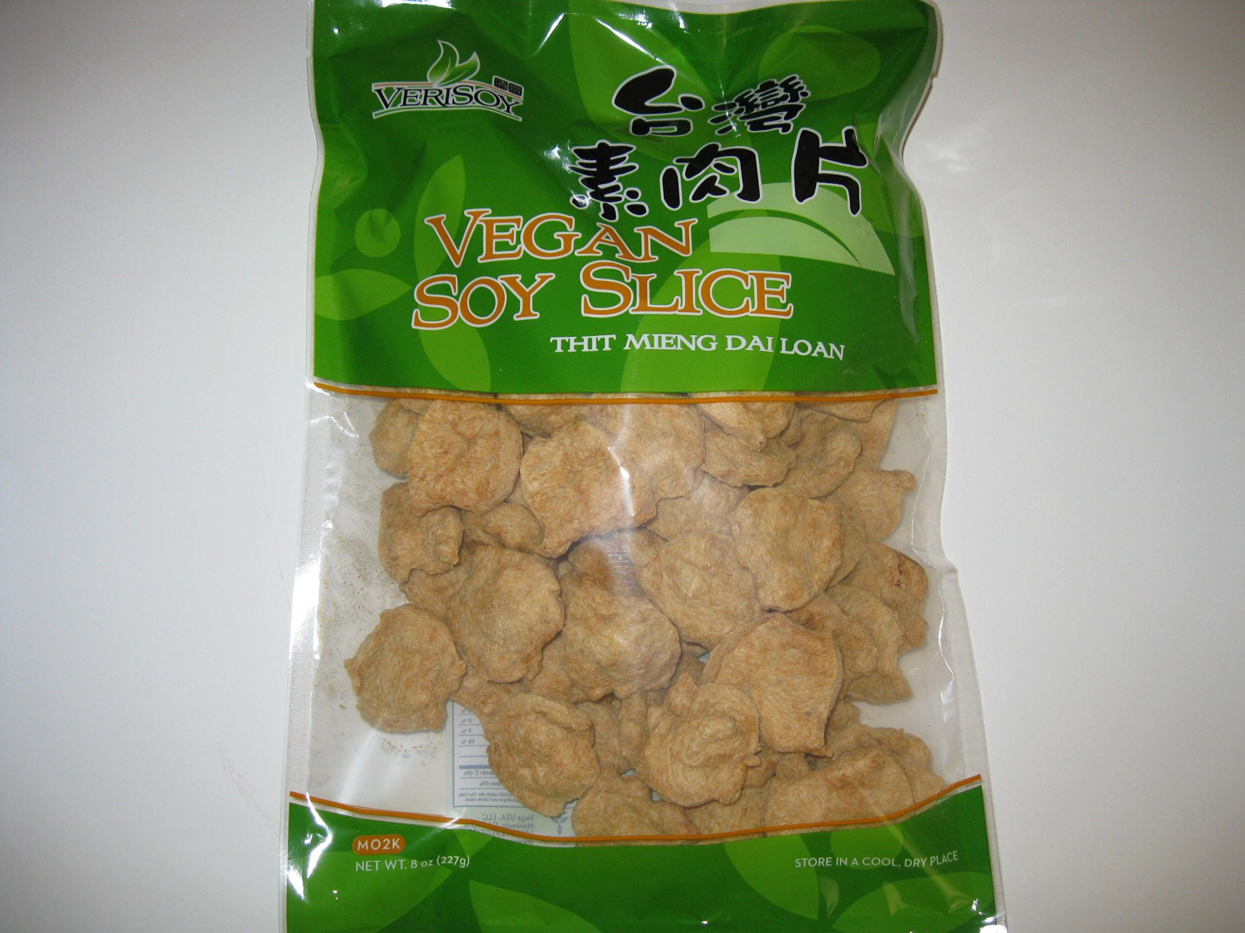 Vsoy Natural Meatless Vegan Soy slice Textured Soy Protein Vegetarian Meat Substitute Unflavored 8 oz. by Soy Protein