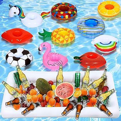 Maitys 12+1 Piezas Bandeja Inflable Barra de Ensalada Soportes Inflables de Bebida de Piscina Incluye Soportes de Copa de Piscina Inflables Unicornio/ Nube/ Piña/ Flamenco/ Pato Amarillo: Amazon.es: Juguetes y juegos