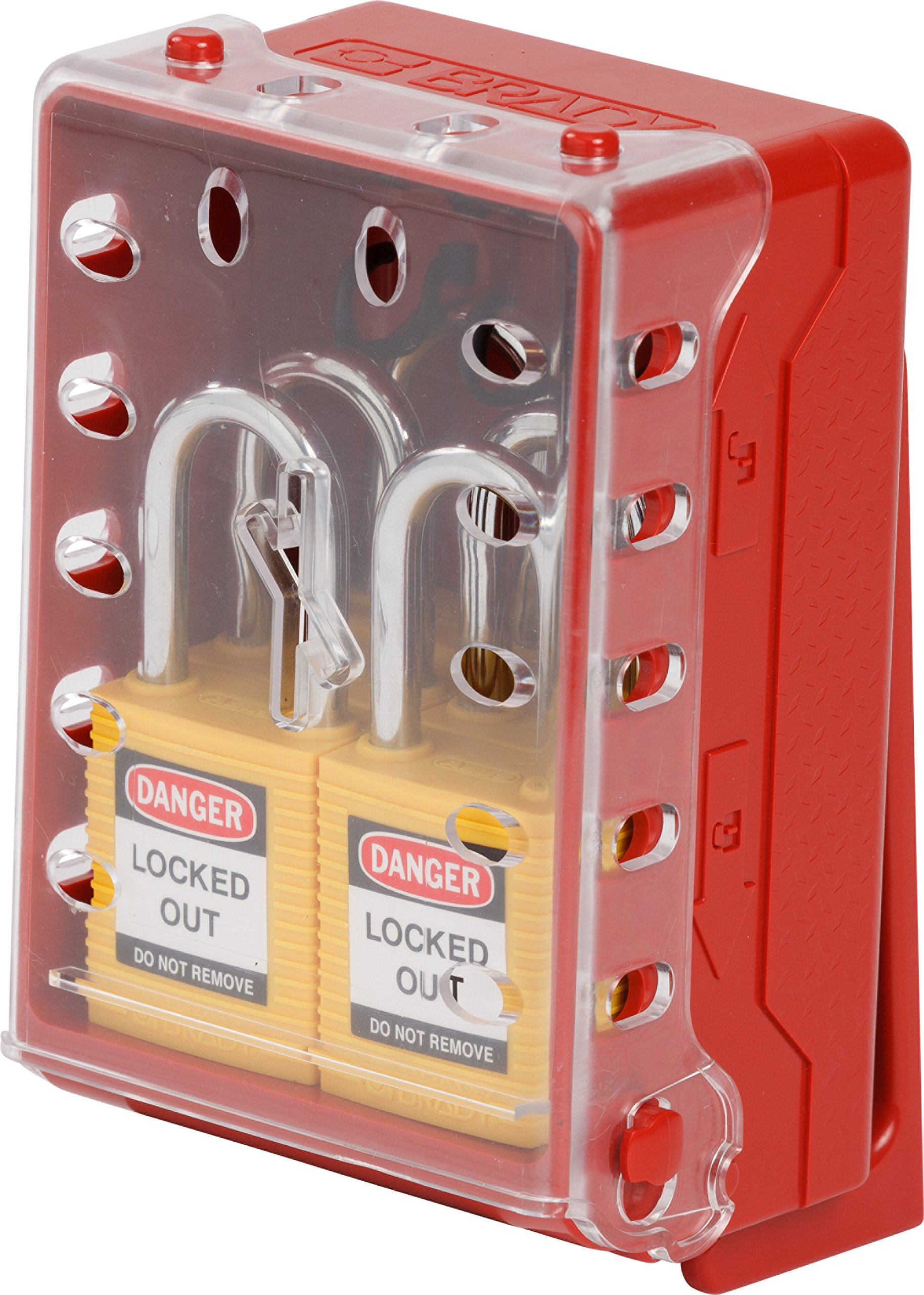 Brady Ultra Compact Lock Box - Wall-Mounted Lockout Tagout Lock Box, Includes 6 Yellow Keyed-Different Locks - Red - 149176