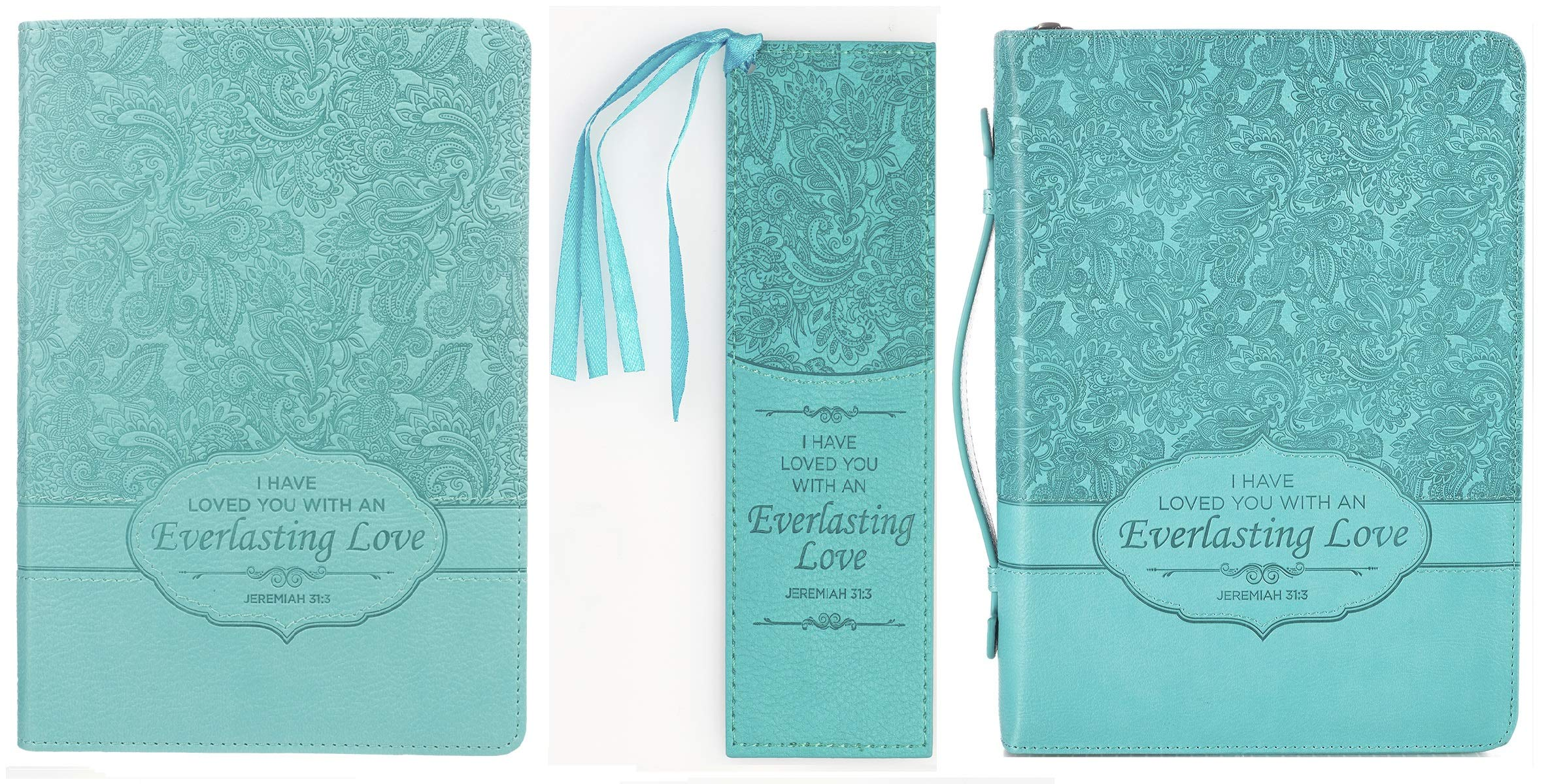 Faux Leather Large Bible Cover, Bookmark, Journal Bundle for Women | Floral Print with Scripture Verse on Turquoise Background | by Christian Art Gifts by Christian Art Gifts