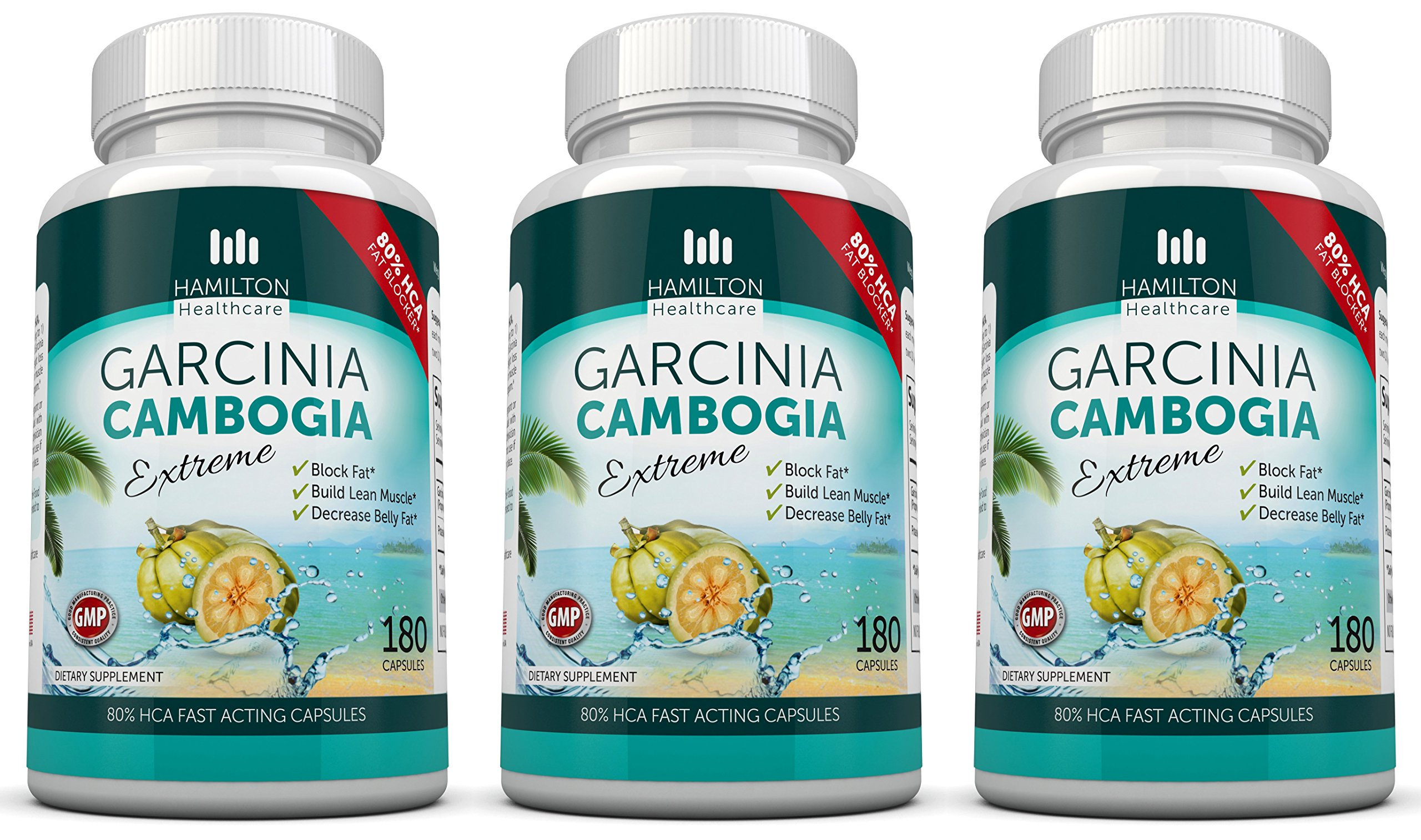 80% HCA Super Strength Garcinia Cambogia Extreme 3 X 180 Fast Acting Capsules. All Natural Appetite Suppressant and Weight Loss Supplement By Hamilton Healthcare