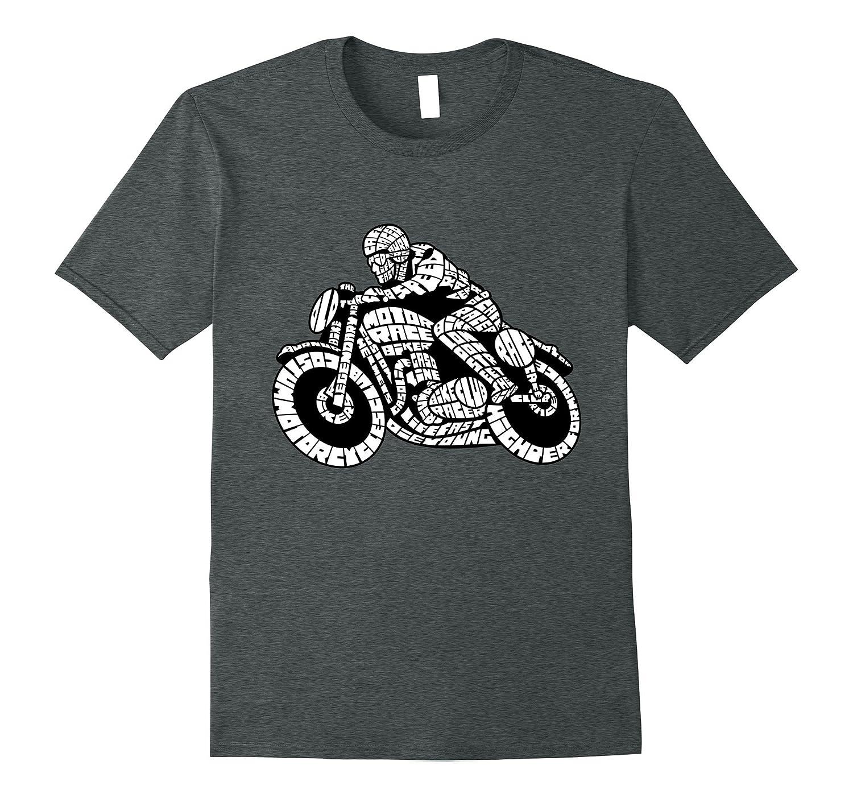 Cafe Motor Racer Biker Word Cloud T-Shirt-TH