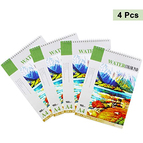 Bloc Papel Acuarela con Espiral (Pack de 4, 24 Hojas por Pack) - Tamaño A4 21 x ...