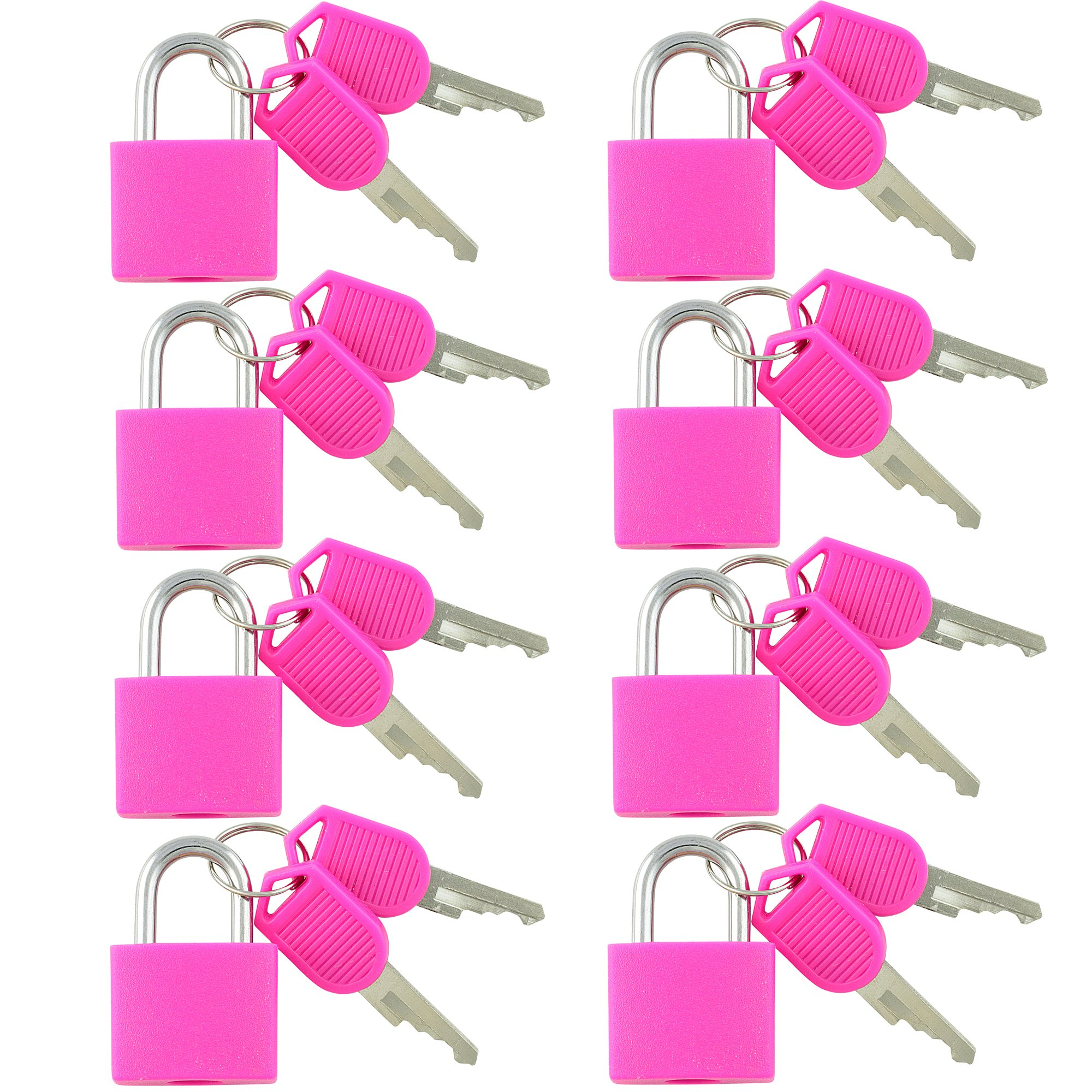 VIP Home Essentials - Small Mini Durable ABS Covered Solid Brass Body Individually Keyed Padlock - 8 Pack Lock Set (Pink)