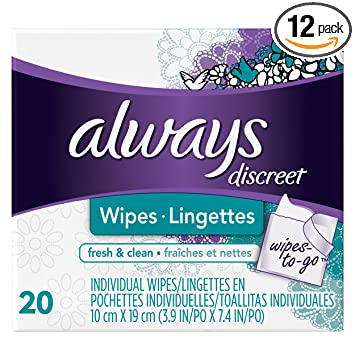 Always Discreet Wipes Fresh and Clean Wipes-to-Go, 20 Count (Pack