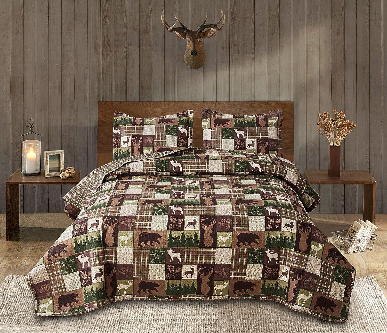 Moose Lodge Lightweight Quilt Set King(96X 106in.) Plaid Bear Deer Trees Warm Season Quilted Bedspread Coverlet Bedding Set,Rustic Cabin Reversible Summer Comforter Blanket,Bed Cover (King,Brown)