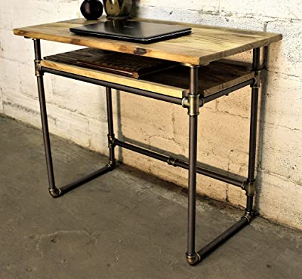 Furniture Pipeline Industrial Writing Desk With Lower Shelf Metal With Reclaimed Aged Wood Finish Grey Steel Pipes And Brass Fittings With Natural