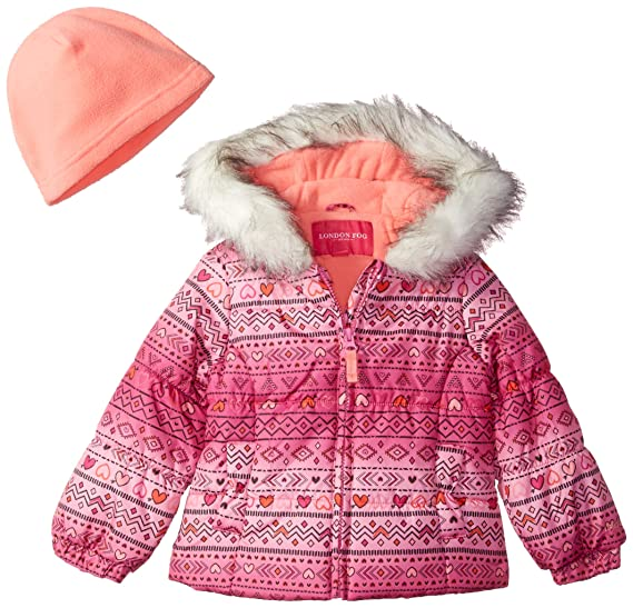 bc5d0eaca2fb Amazon.com  London Fog Coral Printed Puffer Jacket With Faux Fur ...