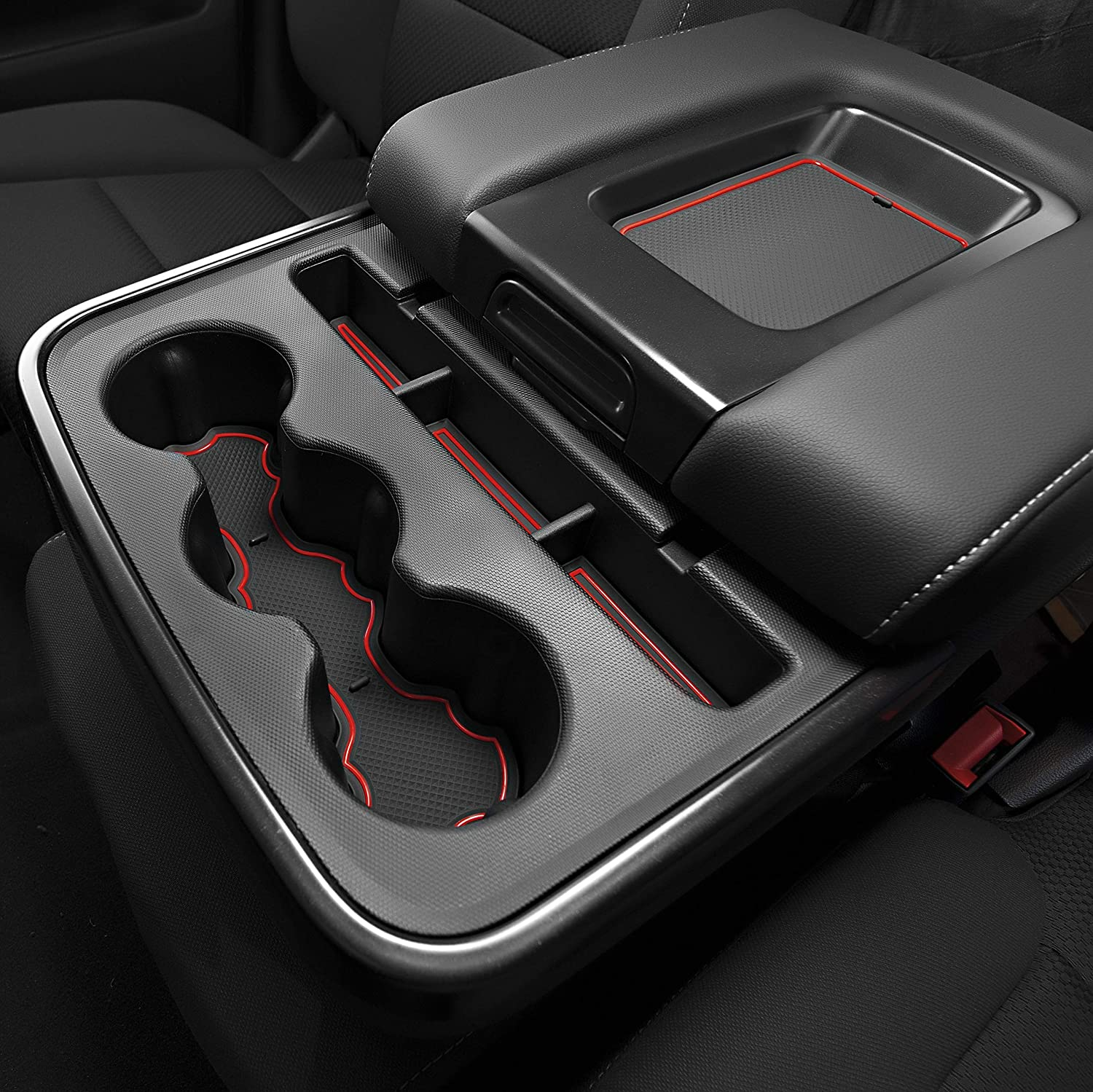 and Door Pocket Inserts 31-pc Set Solid Black Premium Cup Holder Console Crew Cab with Bucket Seats CupHolderHero for Chevy Silverado 1500 and GMC Sierra 2014-2018 Custom Liner Accessories