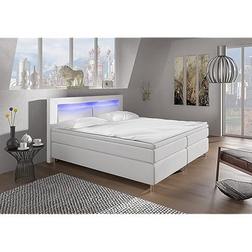 Wohnen Luxus Boxspringbett 180x200 Weiß Mit LED Beleuchtung Und  Chromleisten Hotelbett Doppelbett Polsterbett Ehebett Amerikanisches