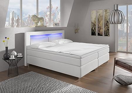 Wohnen-Luxus Boxspringbett 180x200 Weiß mit LED Beleuchtung und Chromleisten Hotelbett Doppelbett Polsterbett Ehebett amerika