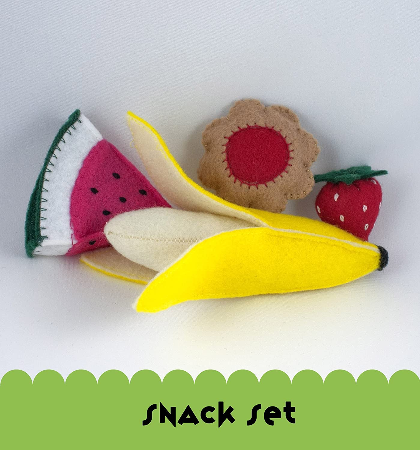Felt Food Snack Set, Banana, Strawberry, Watermelon and Raspberry Cookie