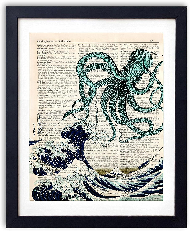 akeke Octopus Upcycled Vintage Art Print