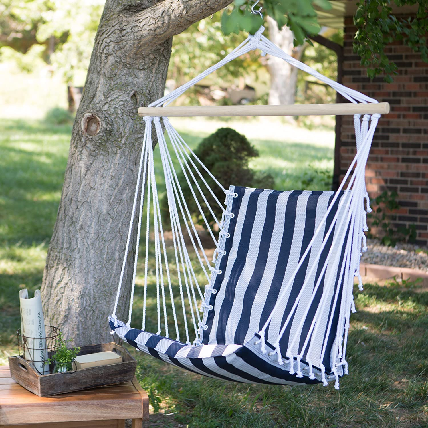 The Ultimate Padded Mesh Hanging Chair / Hammock   Navy Stripes With  Durable Wood Spreader Bar And Hanging Ring