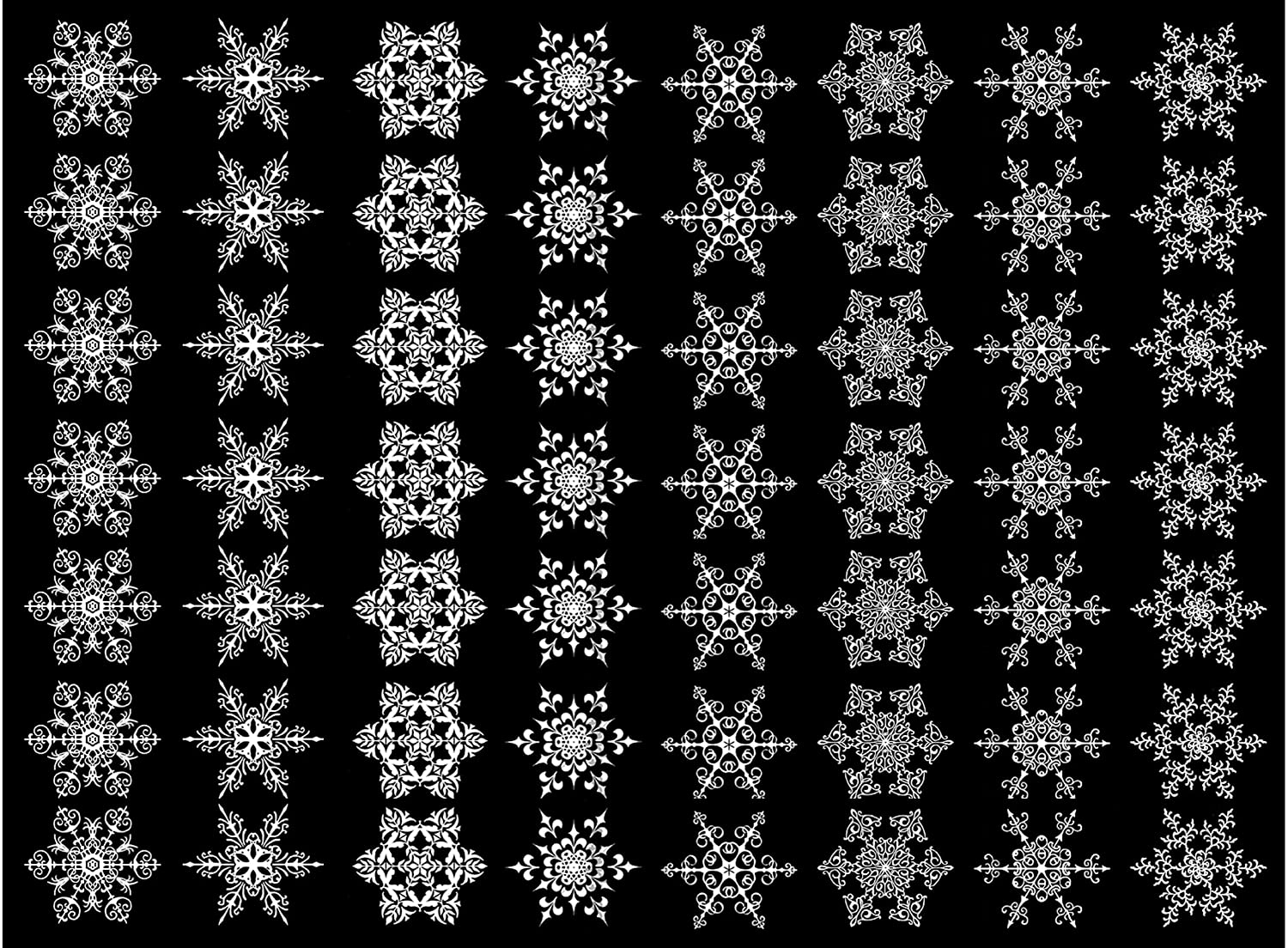 Snowflakes 56 pcs 3/4' White 16CC579 Fused Glass Decals Must be kiln fired Captive Decals