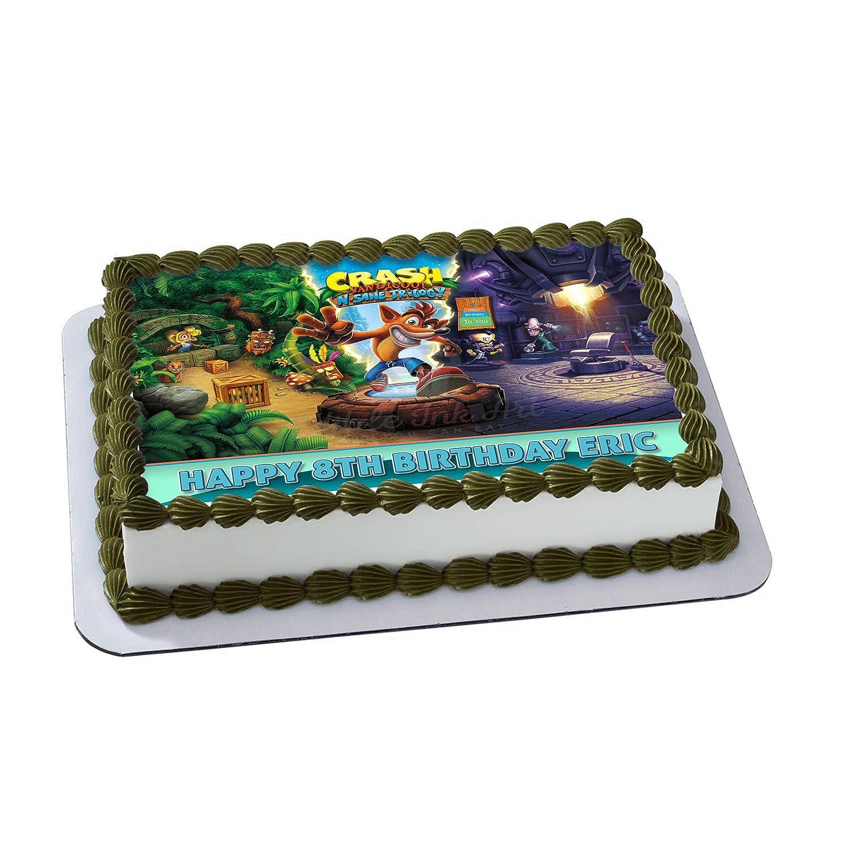 Crash Bandicoot Edible Cake Image Topper Personalized Icing Sugar