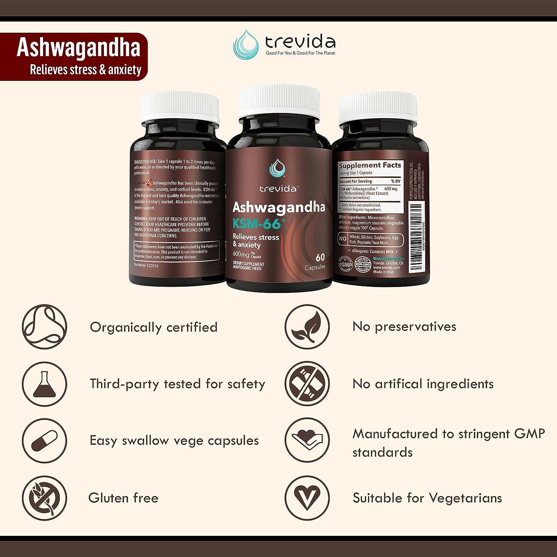 Amazon Com Trevida Organic Ashwagandha Extract Ksm 66 Formulated