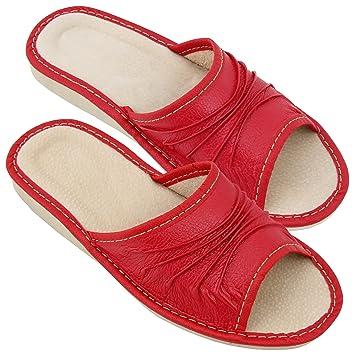 Hausschuhe Damen Echtleder Pantoffeln Latschen Leder Creme Größe 35 NEU C1K3v1