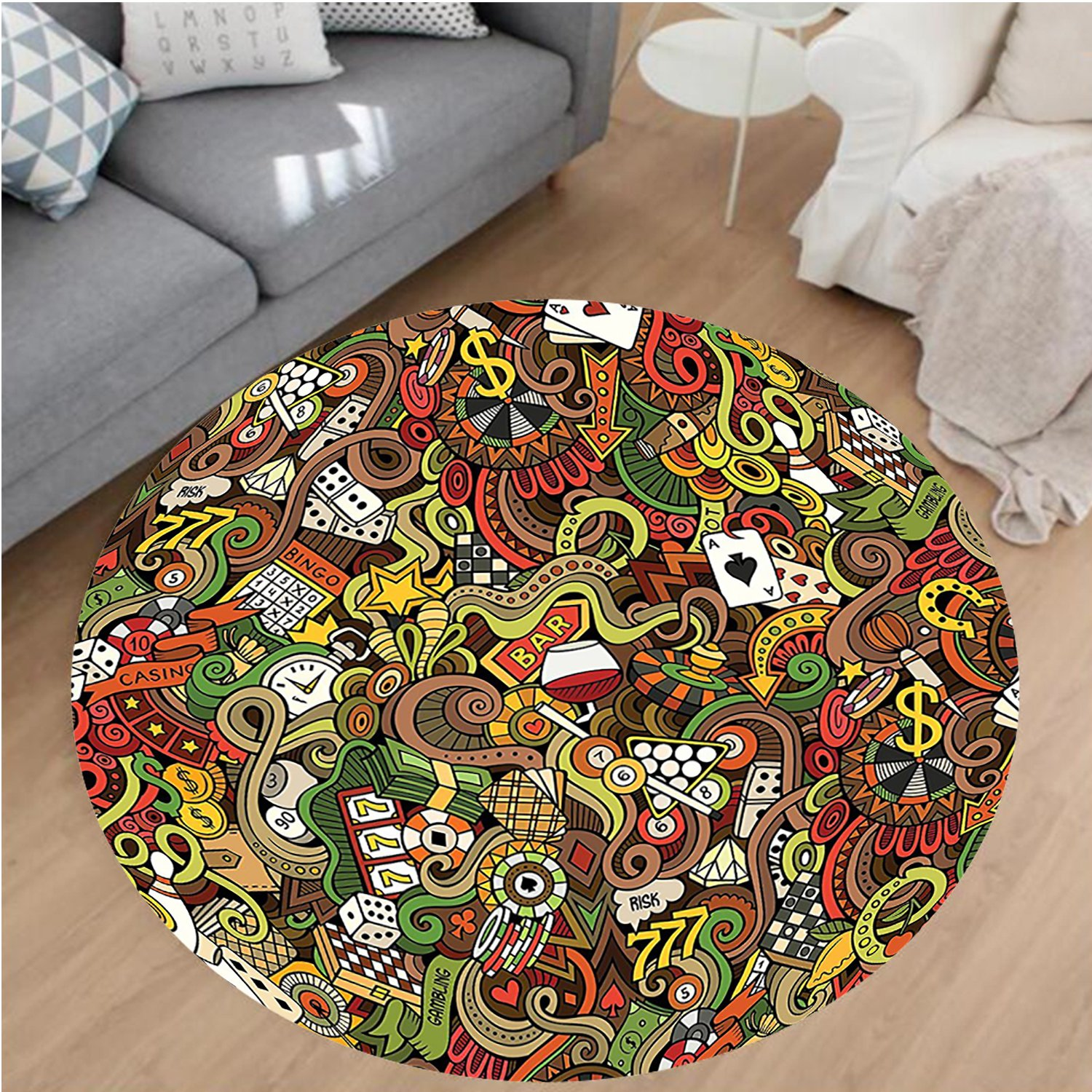 Nalahome Modern Flannel Microfiber Non-Slip Machine Washable Round Area Rug-Casino Decorations Doodles Style Art Bingo Excitement Checkers King Tambourine Vegas area rugs Home Decor-Round 71'' by Nalahome
