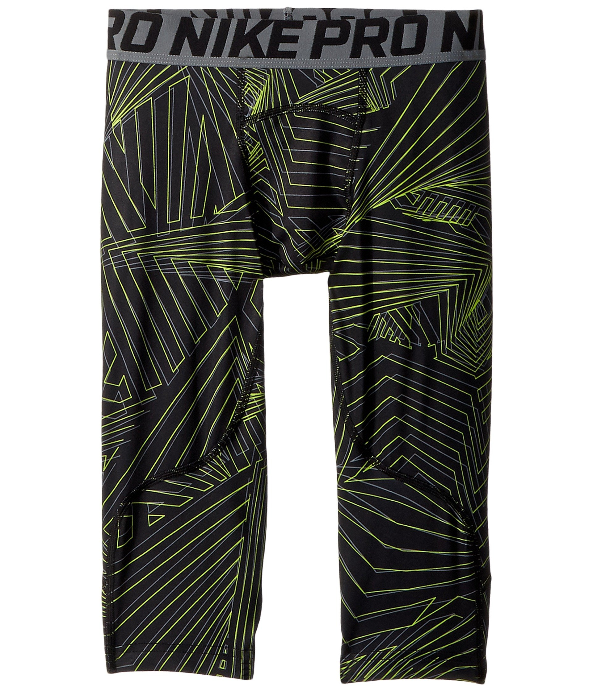 NIKE Pro Boy`s 3/4 Printed Training Leggings (Black (943374-010)/Print Volt/Reflective Silver, Large) by Nike
