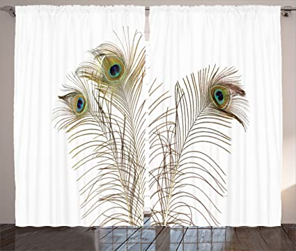 Charmant Ambesonne Peacock Decor Curtains, Peacock Feathers Closeup Simple Picture  Minimalistic Design Stylish Home Artwork,
