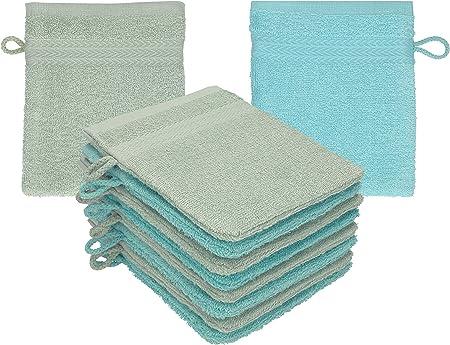 Betz Paquete de 10 Manoplas de baño Premium 100% algodón 16x21 cm Verde heno y Azul océano: Amazon.es: Hogar