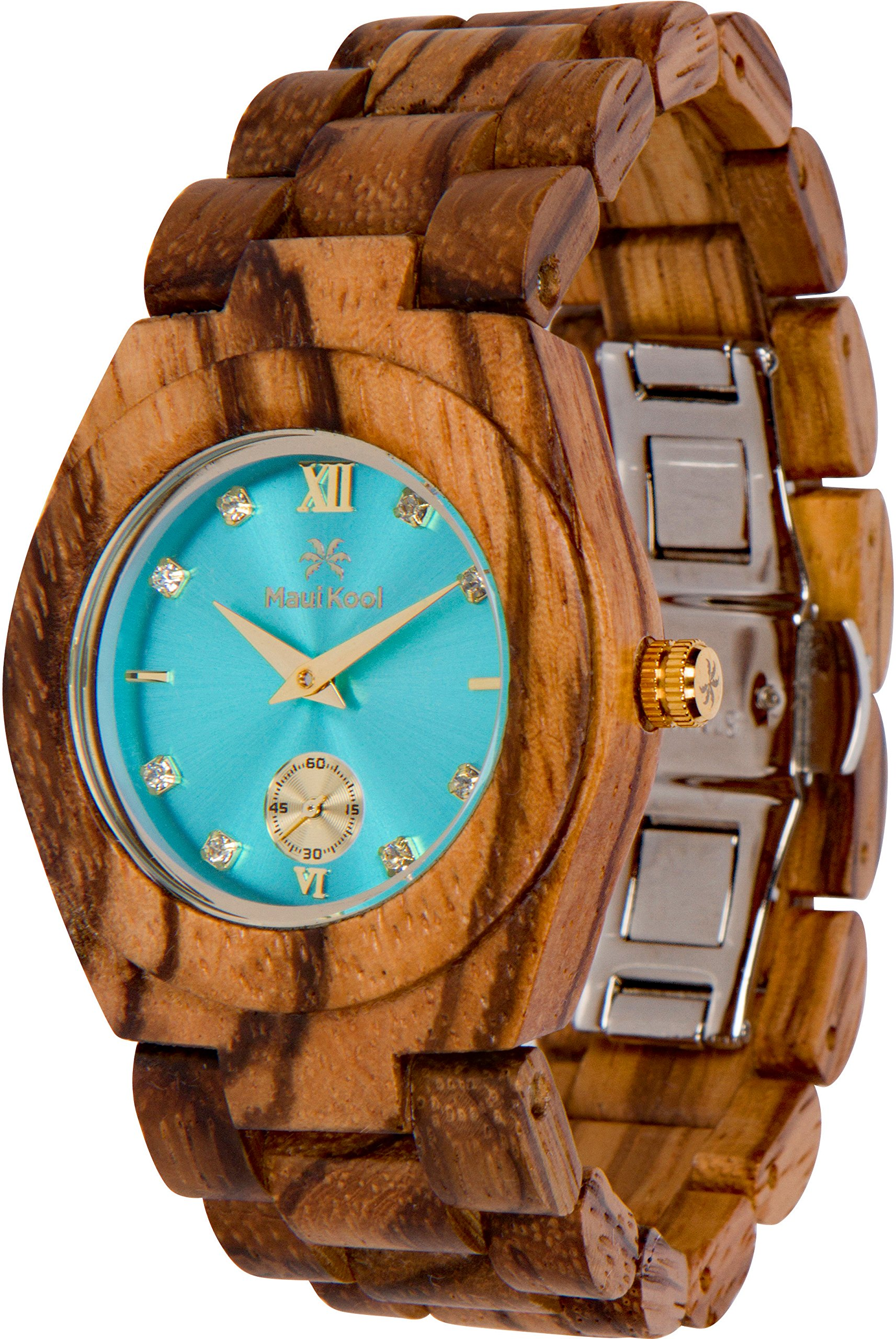 Maui Kool Wooden Watch Hana Collection for Women Analog Wood Watch Bamboo Gift Box (B1 - Zebra Turquoise)