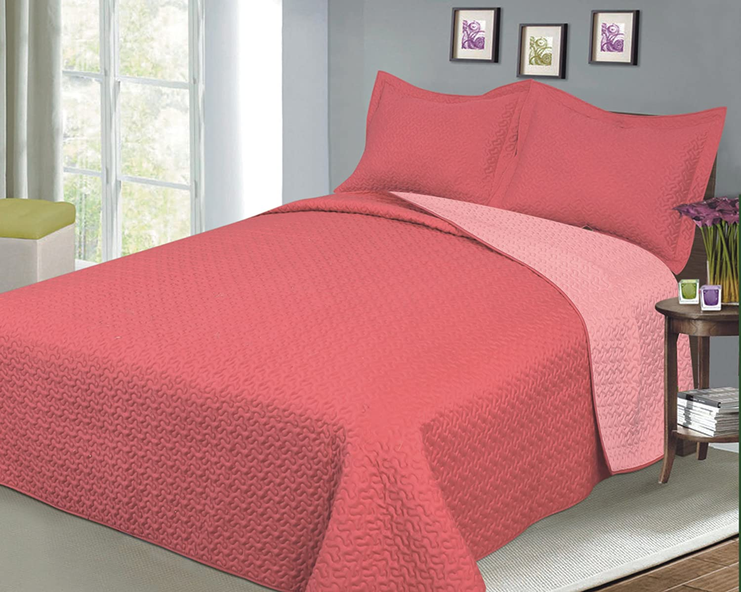 Reversible Solid Color Mini Quilt Sets, Full/Queen, Coral/Salmon
