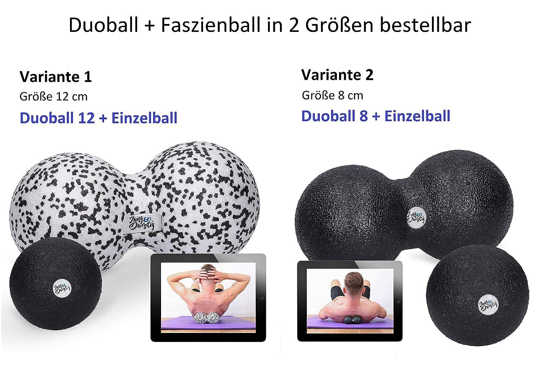Startguide Twinball f/ür Faszientraining Selbstmassage Triggerpunkttherapie von Nacken R/ücken Fitcarrots Duoball 8cm Arme und Wade von Experten empfohlen inkl Schwarz