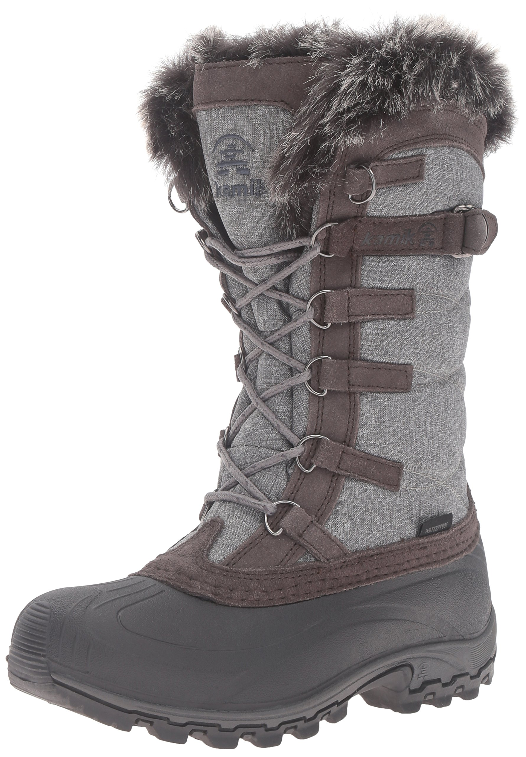 Kamik Women's Snowvalley Snow Boot, Charcoal/Brown, 10 M US