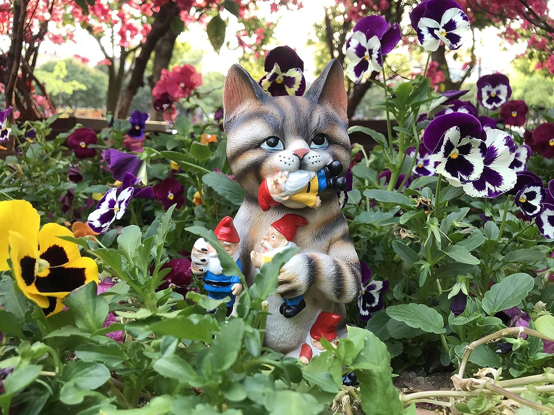 Amazon.com : By Mark & Margot - Mischievous Cat Garden Gnome Statue ...