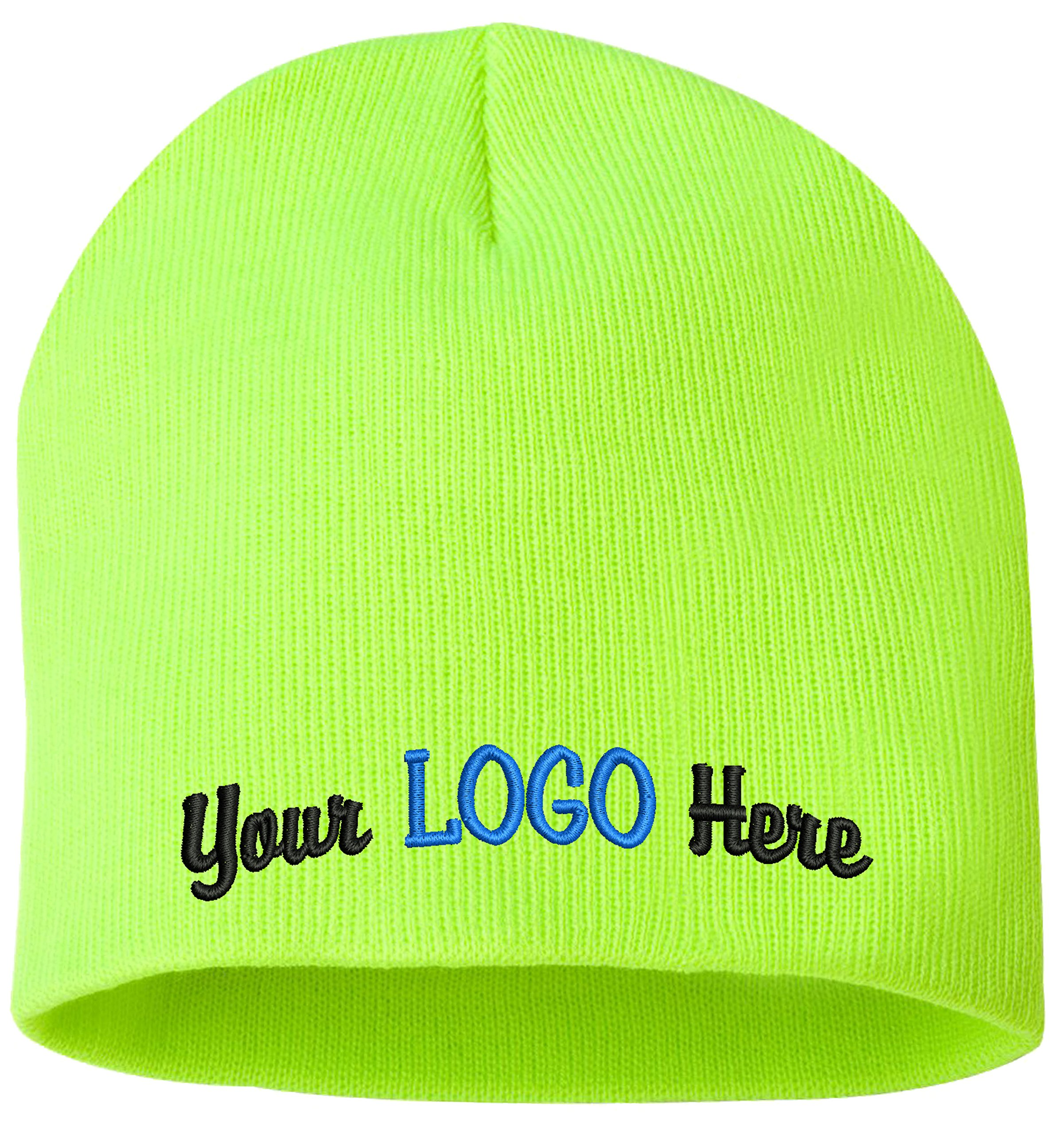 Peerless Skull Knit Hat With Custom Embroidery Your Text Here or Logo Here One Size SP08 (Safety Yellow W/Logo, 12)