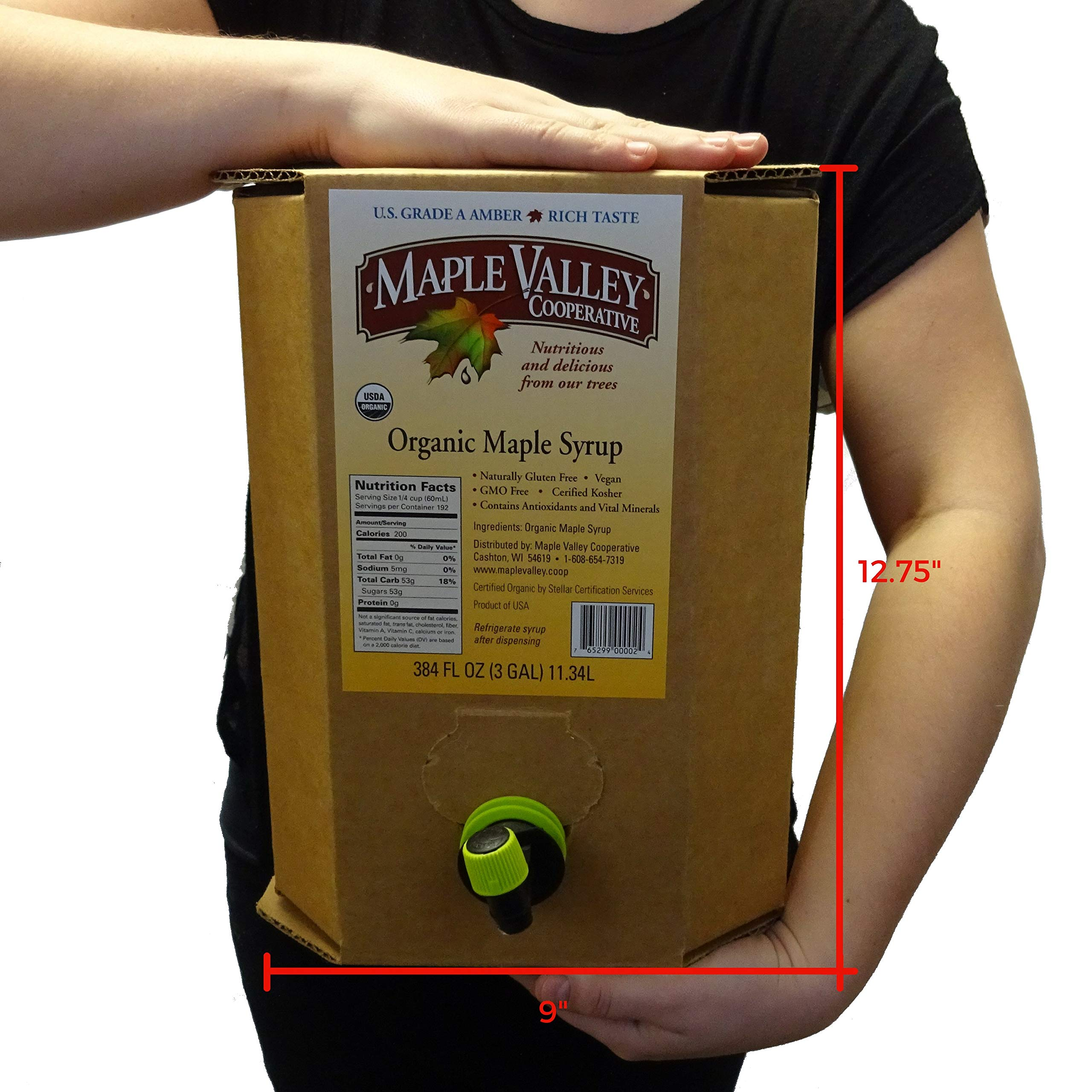 Maple Valley Organic Maple Syrup, 3-Gallon Bag-In-Box, Grade A (Amber Color, Rich Taste)