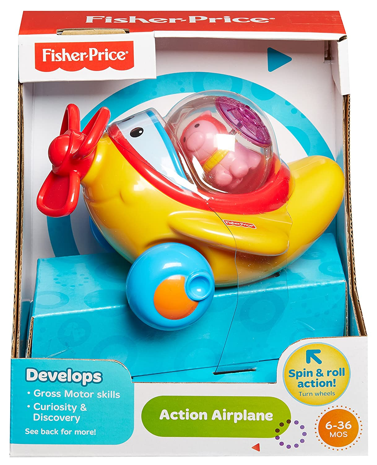 Amazon.com: Fisher-Price Roll-A-Rounds Action Airplane: Toys & Games