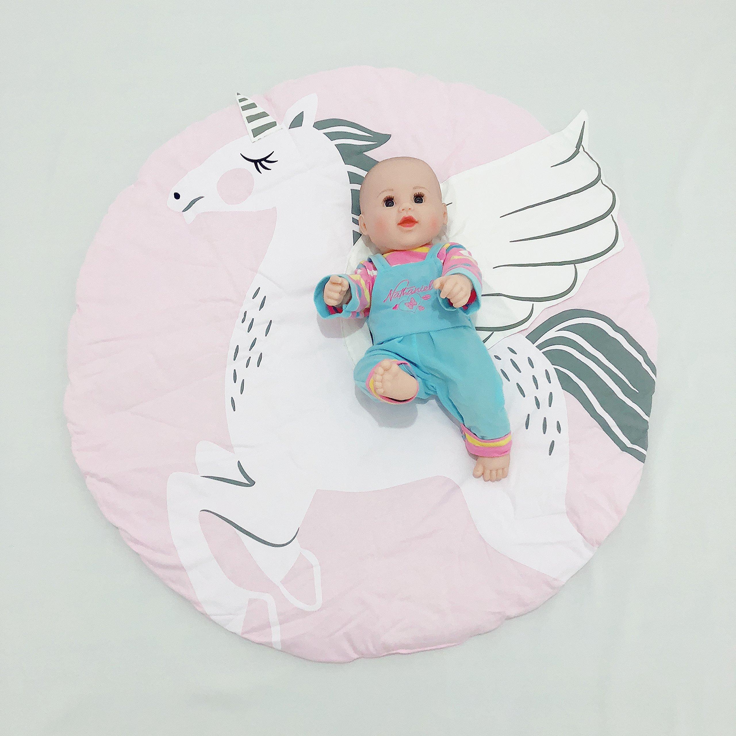 (Diameter:38 inches) Circle,Round Cute Baby Play Mat, Adventure Carpet,Crawling Mat, Children's Room Decoration (Unicorn)