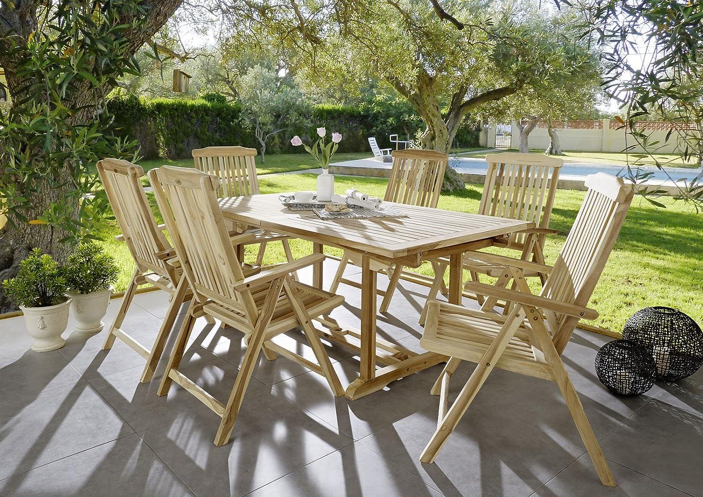 SAM® Teak-Holz Garten-Gruppe Gartenmöbel 7tlg Caracas, Balkon-Gruppe bestehend aus 1 x Tisch + 6 x Stuhl, zusammenklappbare Stühle, leicht zu verstauen