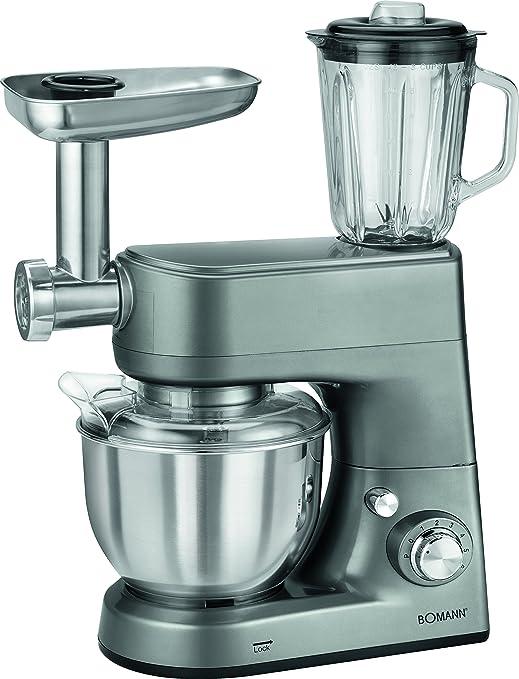 Bomann KM 1373 CB Robot de Cocina multifunción amasadora, picadora de Carne, batidora Vaso, Pasta, 1000w, 1000 W, 5 litros, 8 Velocidades, Titanio: Amazon.es: Hogar