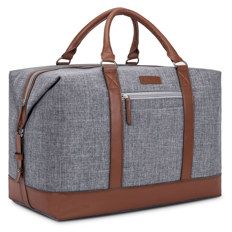 NiceEbag Weekender Duffel Bag With Micro Fiber Leather Handle 48L Water-Resistant Large Travel Bag For Business Trip - Brown