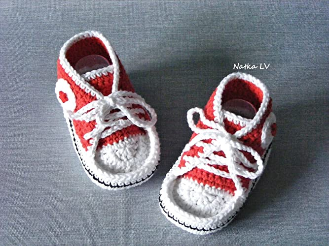 Amazoncom Baby Red Booties Baby Crochet Sneakers Baby Girl
